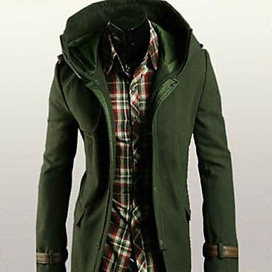 Men's New Spring Classic Unique Leather Buckle Design Woolen Coat