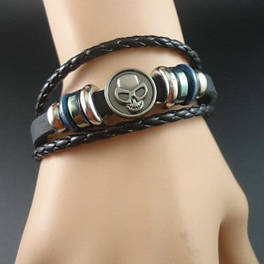 New fashion Cool Skull Charms Leather Men Bracelet