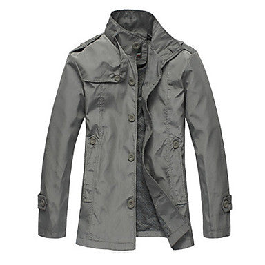 Men's Stand Collar Button Coat
