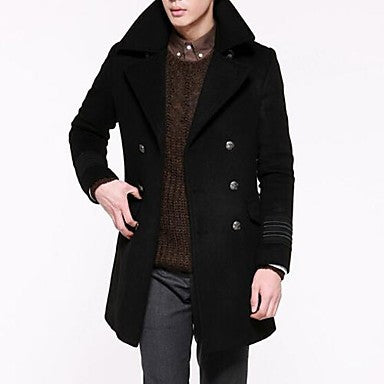 Men's Lapel Collar Long Sleeve Metal buckles decorated Trench Coat