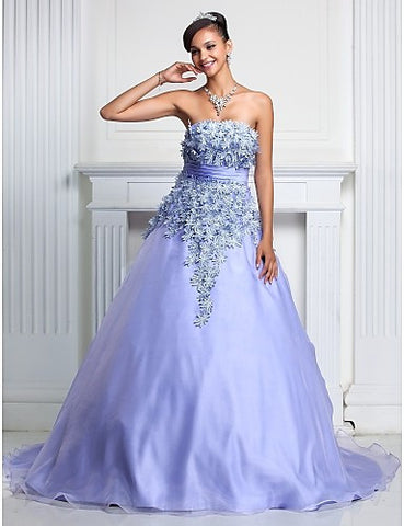 Ball Gown Strapless Court Train Organza Evening/Prom Dress