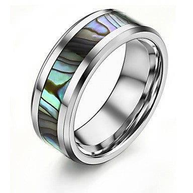 Natural Shell Tungsten Steel Men's Ring