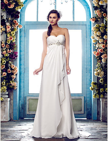 Wedding Dress A Line Sweep Brush Train Chiffon Sweetheart Strapless With Crystal Detailing and Criss Cross