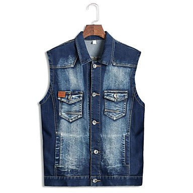Men's Turn Down Collar Sleeveless Casual Vest Coats