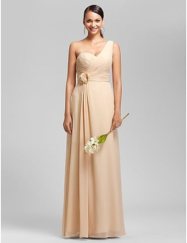 Sheath/Column One Shoulder Floor-length Chiffon Bridesmaid/Wedding Party Dress