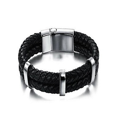 Fashion Men's Delicacy Black Alloy Leather Bracelet(1 Pc)