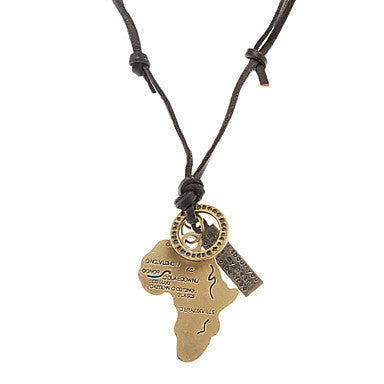 Punk (Africa Map+Ring+Tag) Black Leather Pendant Necklace For Men (1 Pc)