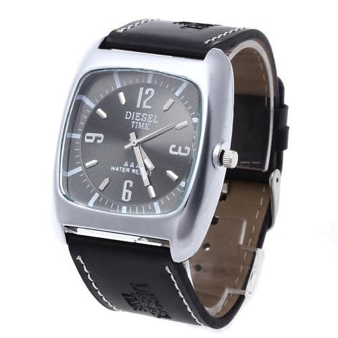 Black Leather Watchband Metal Gent Wristwatch Watch 41mm