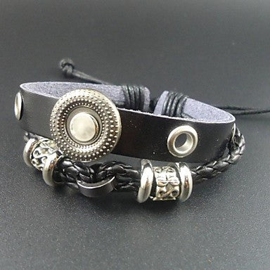 New Trendy Punk Vintage Charms Men Genuine Leather Bracelet