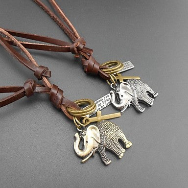 Fashion Retro Propitious Elephant Multicolor Leather Alloy Pendant Necklace(1 Pc)(Bronze,Silver)