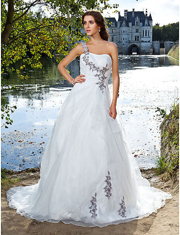 Ball Gown One Shoulder Court Train Organza Wedding Dress