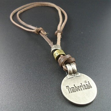 New Fashion Round Pendant Genuine Leather Men Necklace