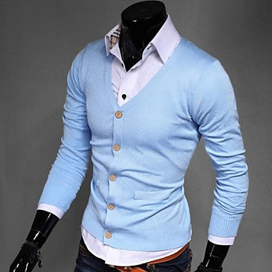 Men's Korean Slim Solid Color Knit Cardigan