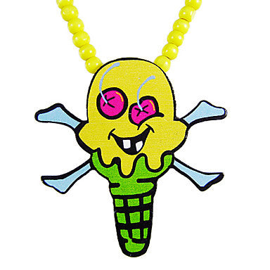 Cartoon Ice Cream Pattern Wooden Necklace