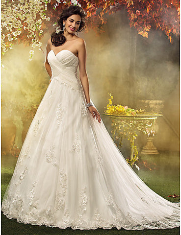 Wedding Dress A Line Court Train Tulle Sweetheart Bridal Gown With Appliques