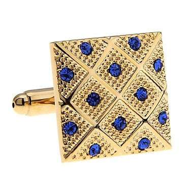Blue Crystal Rhinestones Each Vintage High Quality Men Cuff Links Excellent Gold Cufflinks