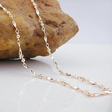 18K CC/585 Gold Plated Rose Gold Bamboo Copper Necklace 60CM