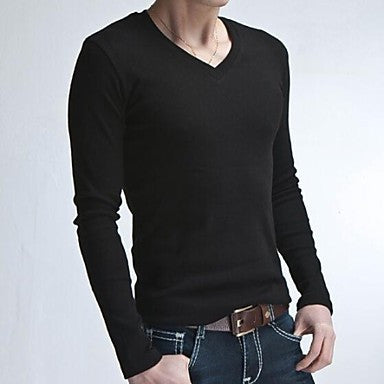 Men's V Collar Long Sleeve T-Shirt