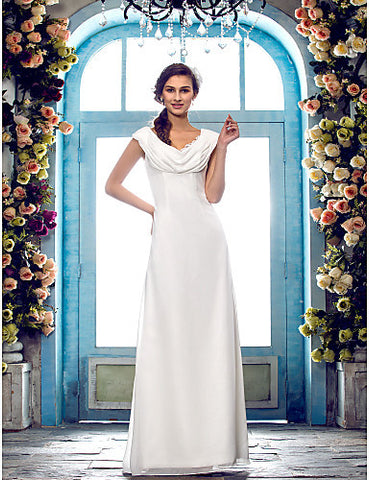 Sheath/Column Cowl Floor-length Chiffon Wedding Dress (618816)