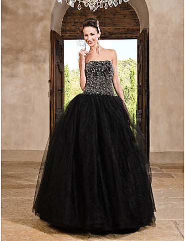 Ball Gown Strapless Floor-length Tulle Satin Evening/Prom Dress