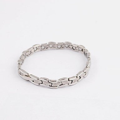 Fashion Men's Silver Snake Shape Health Magnet Titanium Steel Tennis Bracelet