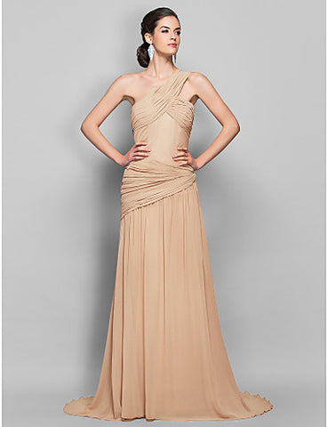 Sheath/Column One Shoulder Sweep/Brush Train Georgette Evening Dress