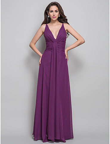 Sheath/Column V-neck Floor-length Side Draping Chiffon Evening Dress