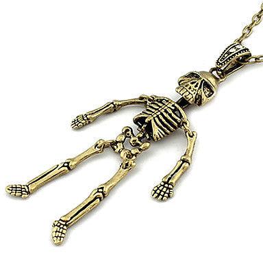 Vintage Bronze Skull Pendant Necklace(Random Color)