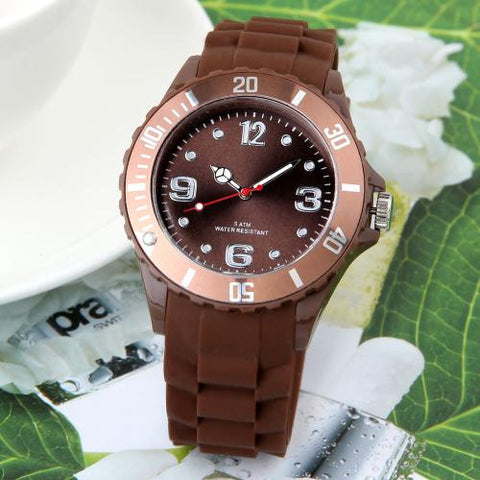 Brown Silicone Watchband Round Dial Wristwatch Wrist Watch 43mm
