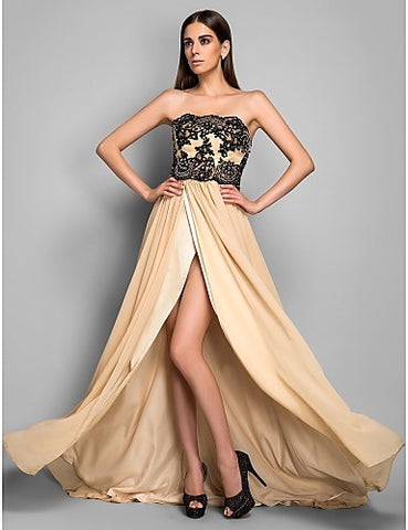 Sheath/Column Strapless Chiffon Evening Dress