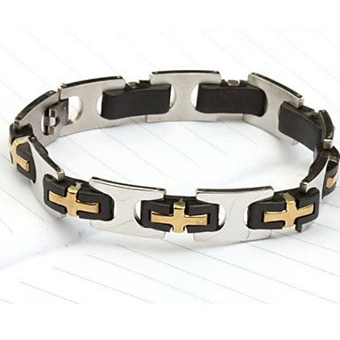 Men's Fashion Personality Titanium Steel Rose Gold Cross Pattern Bracelets