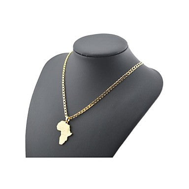 Figaro Chain 60cm Africa Map Pendant Men Golden Gold Plated Chain Necklaces(4mm Width)