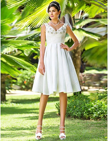 Wedding Dress A Line Knee Length Ruched Taffeta V Neck Little White Dress With Beading