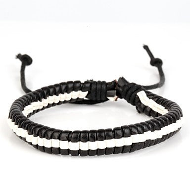 High Fashion Hard Leather Bracelet Black and White(1 Piece)