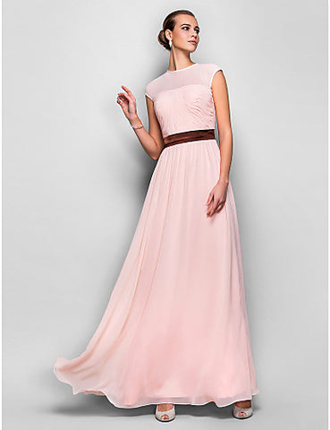 A-line Jewel Natural Floor-length Georgette Evening/Prom Dress