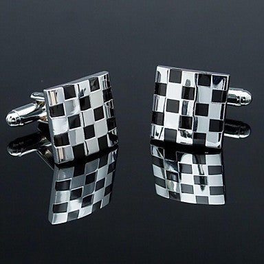 Fashionable Square Black Silver Toned Man Check Pattern Cufflink for Men (1pair)