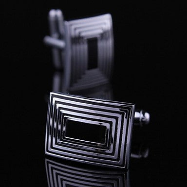 Cufflinks For Men with Black and White Lines (1pair)