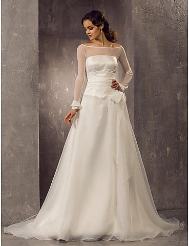 A-line Off-the-shoulder Court Train Organza Wedding Dress(632809)