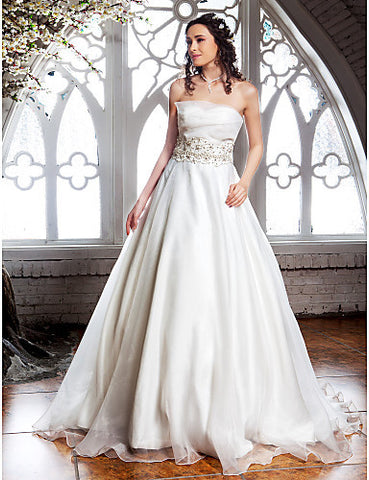 A-line Strapless Sweep/Brush Train Organza Wedding Dress (467026)