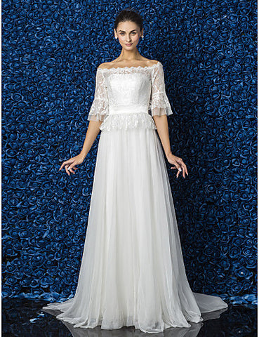 A-line Princess Bateau Court Train Tulle And Lace Wedding Dress (870996)