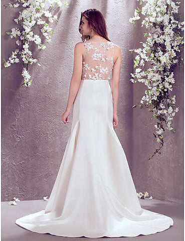 A-line Bateau Sweep/Brush Train Lace And Satin Wedding Dress (871022)