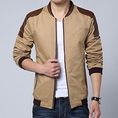 Men's Stand Collar Casual Long Sleeve Leather Sleeve Splicing Jacket