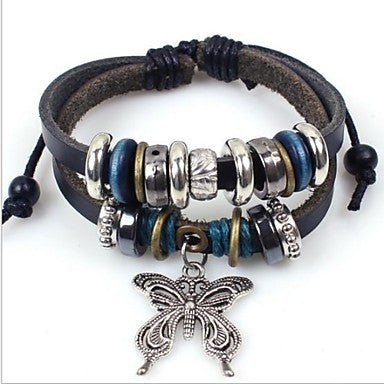 European 20cm Unisex Black Leather Charm Bracelet(1 Pc)