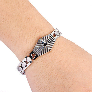 Fashion Hexagon Shape Men's Silver Alloy Tennis Bracelet(1 Pc)