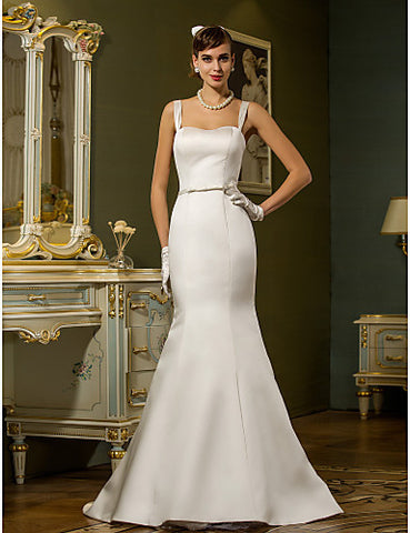 Trumpet/Mermaid Straps Sweep/Brush Train Satin Weddimg Dress (783897)