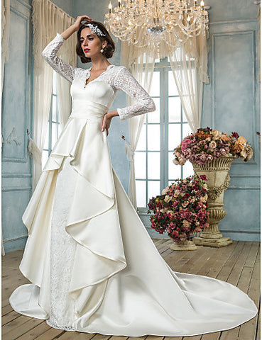 A-line V-neck Chapel Train Lace And Satin Wedding Dress