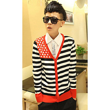 Men's V-Neck Trendy Stars Long Sleeve Cardigans