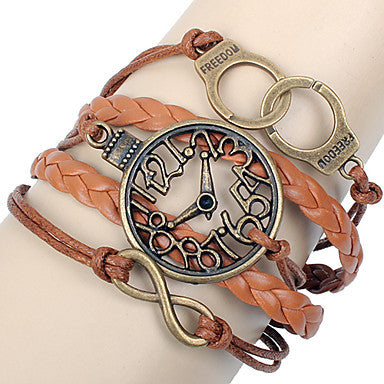 Men's Multilayer Clock Brown Leather Wrap Bracelet
