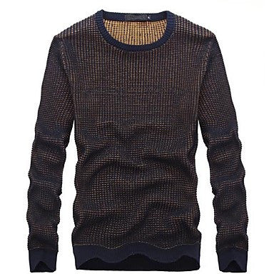 Men's Round Collar Contrast Color Long Sleeve Sweater