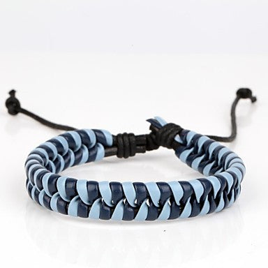 Comfortable Adjustable Men's Leather Cool Hard Bracelet Dark Blue And Light Blue Braided Leather(1 Piece)
